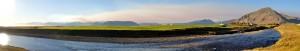 Óvenjulegt ský eða gasmóða? Myndin er tekin sunnan við Borgir í Nesjum. Ljósm. Snævarr Guðmundsson, kl 17:00 23. sept 2014.