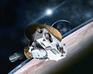 Mynd listamanns af geimkannanum New Horizons. Mynd: NASA/Johns Hopkins University Applied Physics Laboratory/Southwest Research Institute.