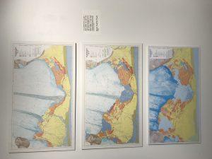 Kort frá 1945, 1965 og 1998 sem sýna Breiðamerkurjökul og landið framanvið hann.